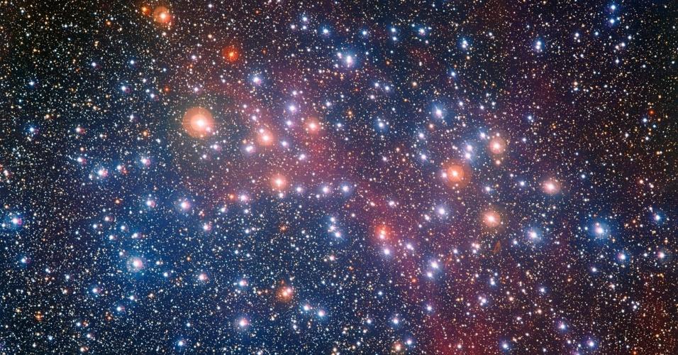 26.nov.2014 - O telescópio Wide Field Imager, do ESO (Observatório Europeu do Sul), capturou uma concentração colorida de estrelas no aglomerado estelar brilhante NGC 3532. Este grupo de estrelas tem cerca de 300 milhões de anos de idade, sendo por isso considerado de meia-idade nos padrões de aglomerados estelares. As estrelas do aglomerado que iniciaram as suas vidas com massas moderadas ainda brilham intensamente em tons azuis esbranquiçados, mas as estrelas que já gastaram todo o seu combustível de hidrogênio transformaram-se em estrelas gigantes vermelhas. O NGC 3532 cobre uma área no céu que é quase duas vezes o tamanho da Lua Cheia e foi o primeiro alvo a ser observado pelo telescópio espacial Hubble da Nasa (agência espacial americana) no dia 20 de maio de 1990