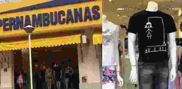 Montagem com a fachada das lojas Pernambucanas e a camiseta que deu início a acusações de fomento à violência contra a mulher a partir de postagem nas redes sociais - Reprodução/Facebook