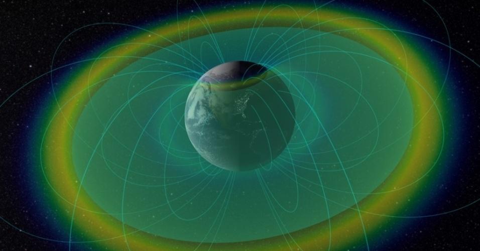 """27.nov.2014 - Um campo de força invisível e impenetrável, a cerca de 11 mil km da superfície da Terra, protege nosso planeta de doses letais de radiação. A descoberta surpreendente e até agora inexplicada foi feita por uma dupla de satélites da Nasa e publicada na revista científica """"Nature"""". A descoberta só foi possível, pois os satélites tinham como objetivo estudar os cinturões de Van Allen, dois anéis de radiação concentrada produzidos pela interação do campo magnético da Terra com partículas emanadas do Sol"""