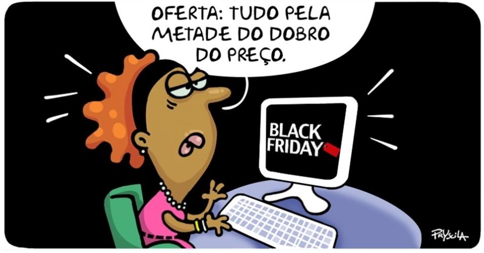 28.nov.2014 - A cartunista Pryscila lembra o consumidor para estar atento a fim de evitar golpes durante a Black Friday