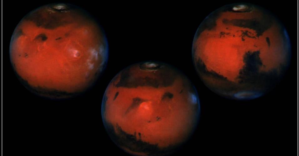 10.mar.1997 - Imagem divulgada pela Nasa em 10 de março de 1997 mostra uma rotação completa do planeta Marte, como avistado pelo telescópio Hubble. As fotos foram feitas com seis horas de diferença, o que permite cobrir a rotação completa do planeta