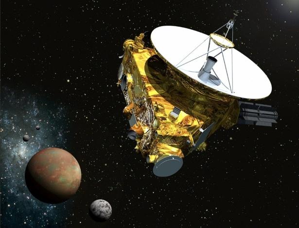 2.dez.2014 - Uma ilustração mostra a sonda New Horizons se aproximando de Plutão e suas três luas no verão de 2015. Câmeras em miniaturas, espectrômetros ultravioletas e infravermelhos e experimentos de plasma conseguem caracterizar a geologia e geomorfologia do planeta e da sua lua Charon, mapear suas composições e temperaturas de superfície, e examinar a atmosfera em detalhe. O principal recurso da espaçonave é uma antena parabólica de quase dois metros, que consegue se comunicar com a Terra estando a mais de sete bilhões de quilômetros de distância. A primeira nave espacial a visitar Plutão irá de novo no dia 6 de dezembro de 2014, em preparação para o encontro com o solstício de verão mais famoso planeta anão do Sistema Solar