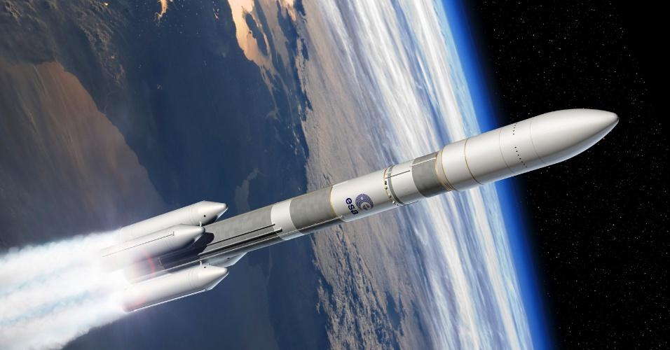 2.dez.2014 - Ilustração demonstra como será o veículo de lançamento Ariane 6,que está sendo desenvolvido pela Agência Espacial Europeia (ESA) para substituir o Ariane 5. A ESA já finalizou o projeto preliminar do foguete da próxima geração. O Ariane 6 será um foguete mais flexível, menor e será capaz de lançar um único satélite de 3 a 6,5 toneladas para uma órbita de transferência geoestacionária