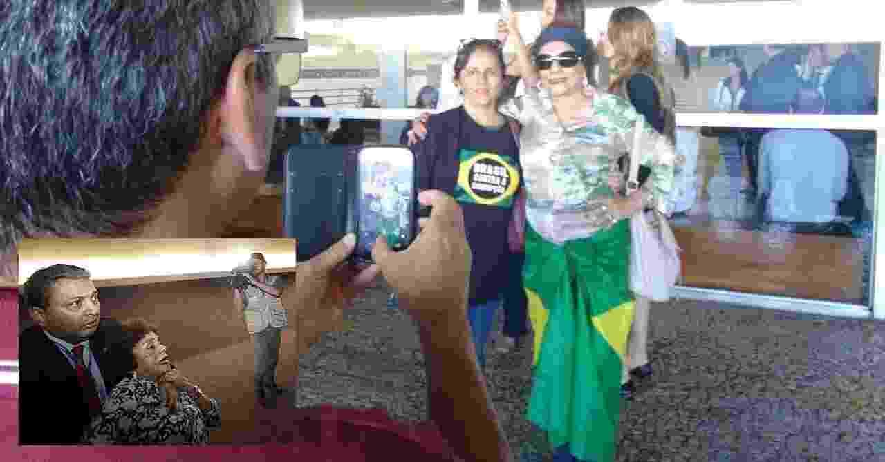 """3.dez.2014 - A administradora Ruth Gomes de Sá (de óculos), 79, agredida em protesto nas galerias do plenário do Congresso Nacional durante a sessão tumultuada desta terça-feira (2), voltou ao Congresso e diz não querer virar """"celebridade"""". Ela tirou fotos com as pessoas que passavam pela entrada da Câmara e deu mais de 15 entrevistas. Ao ser questionada pela reportagem do UOL sobre por que voltou ao Congresso hoje, Ruth respondeu: """"vim quebrar o pau aí"""" - Arte/UOL"""