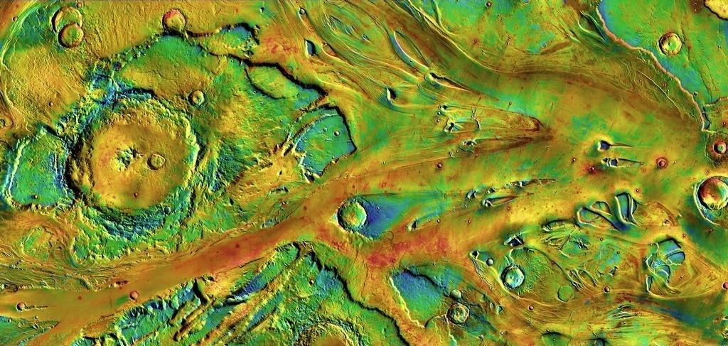 3.dez.2014 - Há bilhões de anos uma enchente emergiu em Echus Chasma, no lado norte de Valles Marineris, o