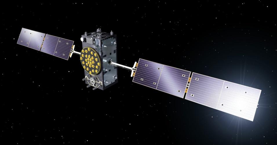 3.dez.2014 - Um dos satélites do sistema de navegação da ESA (agência espacial europeia), conhecido como Galileo, que foi colocado na órbita errada em agosto pelo foguete russo Soyuz, teve sua posição ajustada e envia sinais de navegação para a Terra