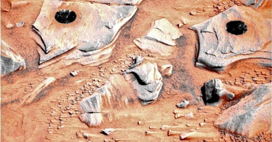 3.dez.2014 - Robô captura imagem de pedras em Marte. Com a curadoria de artistas, fotógrafos e editores de fotografia, a Nasa reuniu uma série de imagens para compor a