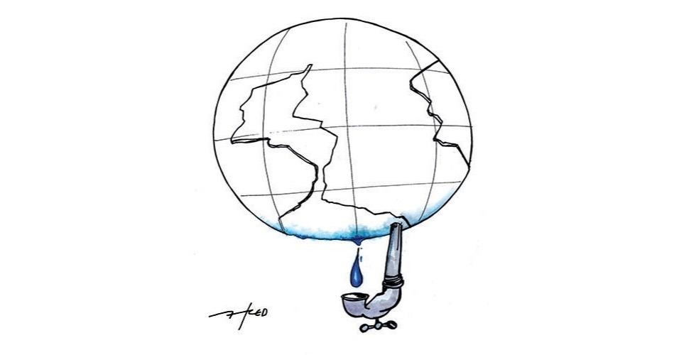 4.dez.2014 - O chargista Fred enfatiza a crise hídrica que afeta diversos lugares do mundo