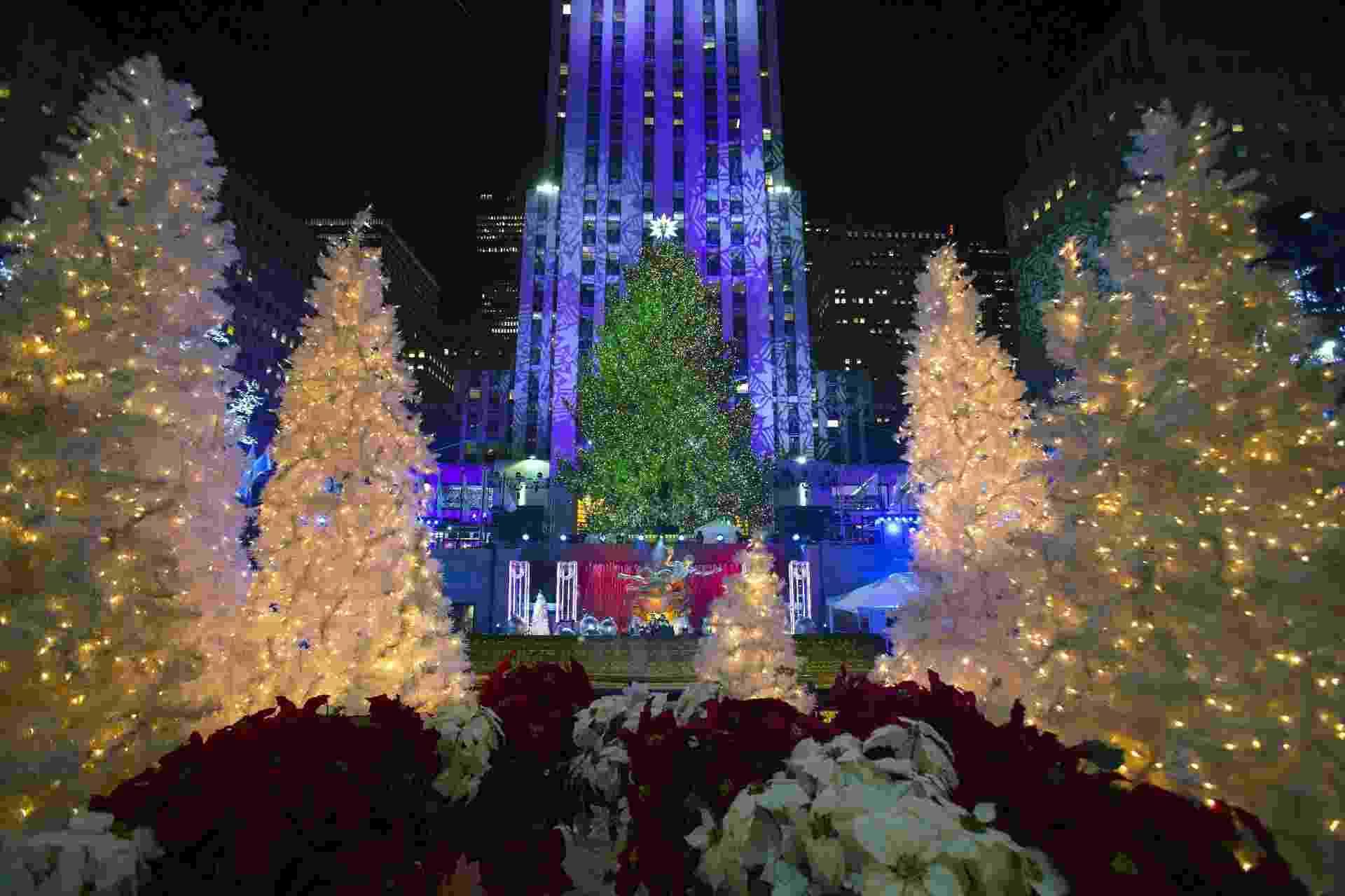 4.dez.2014 - As luzes da emblemática árvore de Natal do Rockefeller Center, em Nova York, foram acesas nesta quarta-feira (3) para dar as boas-vindas às festas de fim de ano na cidade. A partir desta noite e até 7 de janeiro, a árvore iluminará o coração da 'Big Apple' com mais de 45 mil lâmpadas, naquele que é o símbolo principal das festas natalinas na cidade desde 1933 - Andrew Kelly/Insider Images