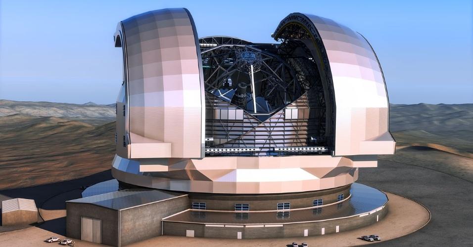 4.dez.2014 - O Conselho do ESO (Observatório Europeu do Sul) deu sinal verde para a construção do telescópio E-ELT (European Extremely Large Telescope) em duas fases. Para cobrir os custos de construção da primeira fase do projeto, o observatório liberou cerca de um bilhão de euros. A concepção artística mostra como será o E-ELT no interior de sua cúpula. O E-ELT será um telescópio ótico e infravermelho de 39 metros, que será colocado no Cerro Armazones no deserto chileno do Atacama. O telescópio permitirá fazer enormes descobertas científicas em áreas tão variadas como exoplanetas e composição estelar de galáxias próximas