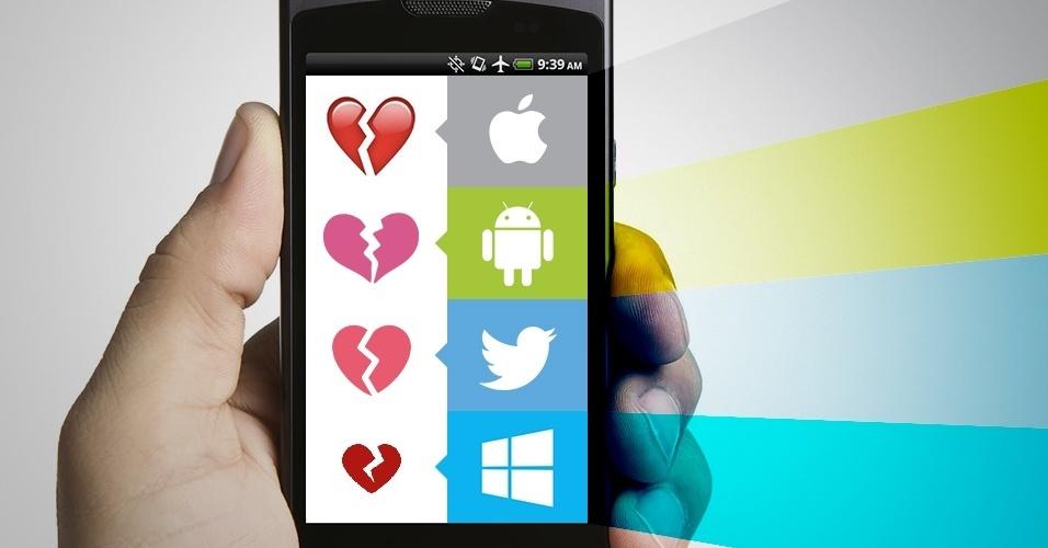 """Os emojis são símbolos que são interpretados conforme a plataforma onde são visualizados. Na imagem, as variações do emoji """"coração partido"""" no iOS, Android, Twitter e no Windows Phone"""