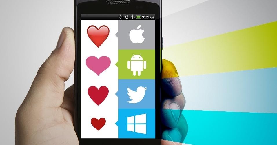 """Os emojis são símbolos que são interpretados conforme a plataforma onde são visualizados. Na imagem, as variações do emoji """"coração vermelho"""" no iOS, Android, Twitter e no Windows Phone"""