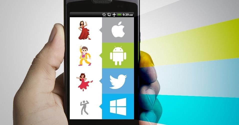 """Os emojis são símbolos que são interpretados conforme a plataforma onde são visualizados. Na imagem, as variações do emoji """"dançarino/dançarina"""" no iOS, Android, Twitter e no Windows Phone"""