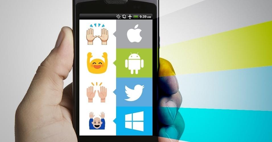 """Os emojis são símbolos que são interpretados conforme a plataforma onde são visualizados. Na imagem, as variações do emoji """"duas mãos levantadas"""" no iOS, Android, Twitter e no Windows Phone"""