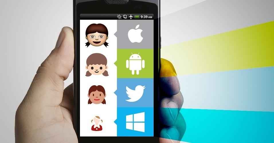 """Os emojis são símbolos que são interpretados conforme a plataforma onde são visualizados. Na imagem, as variações do emoji """"garota"""" no iOS, Android, Twitter e no Windows Phone"""