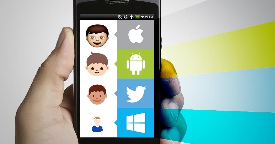"""Os emojis são símbolos que são interpretados conforme a plataforma onde são visualizados. Na imagem, as variações do emoji """"garoto"""" no iOS, Android, Twitter e no Windows Phone"""