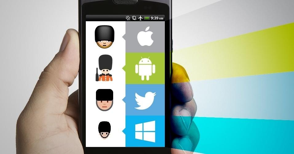"""Os emojis são símbolos que são interpretados conforme a plataforma onde são visualizados. Na imagem, as variações do emoji """"guarda"""" no iOS, Android, Twitter e no Windows Phone"""