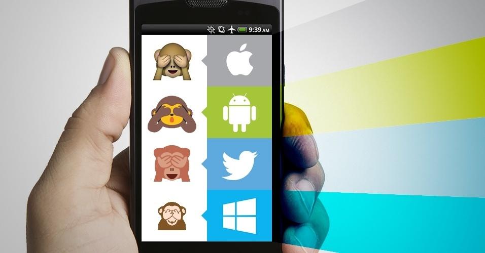 """Os emojis são símbolos que são interpretados conforme a plataforma onde são visualizados. Na imagem, as variações do emoji """"macaquinho com as mãos nos olhos"""" no iOS, Android, Twitter e no Windows Phone"""
