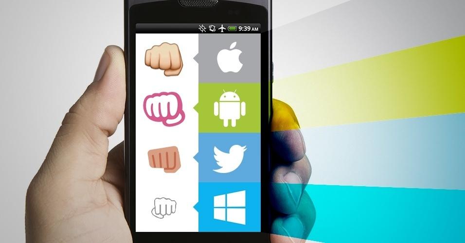 """Os emojis são símbolos que são interpretados conforme a plataforma onde são visualizados. Na imagem, as variações do emoji """"mão fechada"""" no iOS, Android, Twitter e no Windows Phone"""