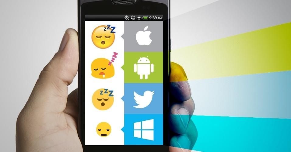 """Os emojis são símbolos que são interpretados conforme a plataforma onde são visualizados. Na imagem, as variações do emoji """"pessoa com sono"""" no iOS, Android, Twitter e no Windows Phone"""