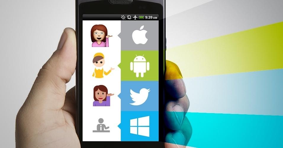 """Os emojis são símbolos que são interpretados conforme a plataforma onde são visualizados. Na imagem, as variações do emoji recepcionista"""" no iOS, Android, Twitter e no Windows Phone"""