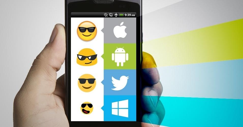 """Os emojis são símbolos que são interpretados conforme a plataforma onde são visualizados. Na imagem, as variações do emoji """"rosto sorrindo e com óculos"""" no iOS, Android, Twitter e no Windows Phone"""