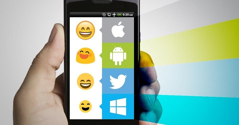 """Os emojis são símbolos que são interpretados conforme a plataforma onde são visualizados. Na imagem, as variações do emoji """"rosto sorrindo e de boca aberta"""" no iOS, Android, Twitter e no Windows Phone"""