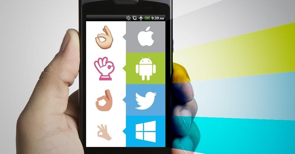 """Os emojis são símbolos que são interpretados conforme a plataforma onde são visualizados. Na imagem, as variações do emoji """"símbolo de ok com a mão"""" no iOS, Android, Twitter e no Windows Phone"""
