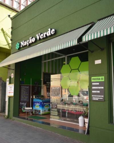 Fachada da loja da franquia Nação Verde, em São Paulo