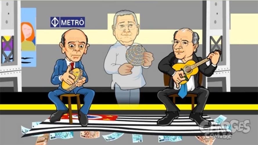 """8.dez.2014 - O chargista Maurício Ricardo faz uma paródia com os governadores de São Paulo cantando """"Trem das Onze"""""""