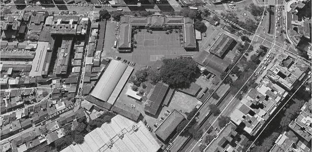 Imagem aérea mostra pelotão de Investigações Criminais, local usado para prisão e tortura