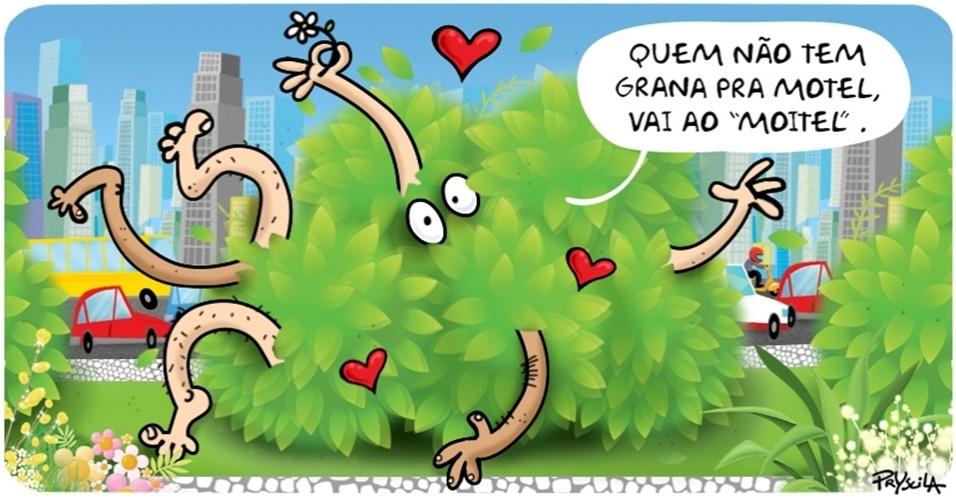 10.dez.2014 - A cartunista Pryscila explica com bom humor porque um casal foi flagrado fazendo sexo em local movimentado no interior do PR