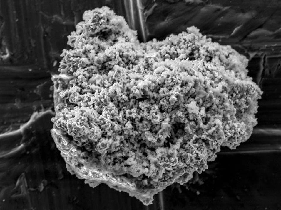 8.dez.2014 - Uma única partícula de poeira de cometa foi coletada de um pedaço de gelo na Antártida, vista aqui com um microscópio