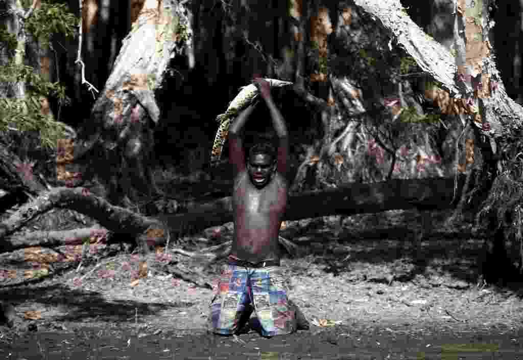 10.dez.2014 - O caçador aborígene australiano Macus Gaykamangu levanta um bebê crocodilo após capturar o animal em um lago perto da comunidade de Ramingining, em East Arnhem Land, na Austrália. A imagem foi feita no dia 22 de novembro e divulgada no dia 10 de dezembro. Arnhem é uma reserva que abrange uma região de cerca de 97.000 km² e conta com uma população de 16.000 pessoas. Para entrar no local, é preciso ser convidado pelos aborígenes australianos, que são os guardiões das maiores tradições culturais ininterruptas da terra, tendo uma conexão com a natureza praticamente escrita em seu DNA, de acordo com estudiosos - David Gray/ Reuters