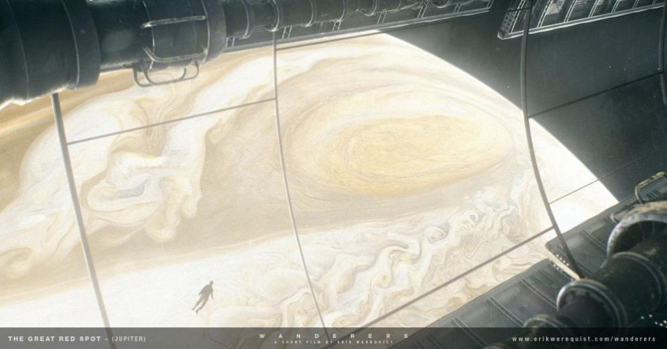 """10.dez.2014 - Esta é a visão da nave espacial em órbita em torno de Júpiter. No curta """"Wanderers"""", do animador sueco Erik Wernquist, a nave se depara com uma tempestade conhecida como a """"Grande Mancha Vermelha"""". Esta tempestade tem sido uma característica permanente do planeta por mais de 300 anos, e é claramente visível através de um telescópio a partir da Terra"""