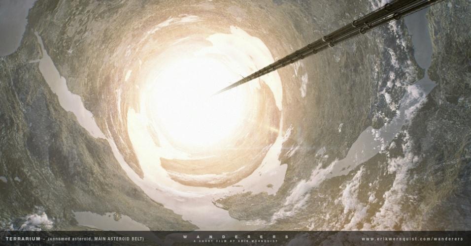 """10.dez.2014 - Esta imagem do curta """"Wanderers"""" especula sobre como deve ser o interior de um asteroide"""