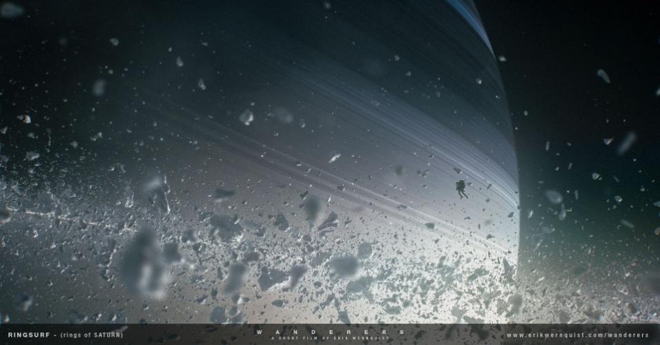 10.dez.2014 - Esta imagem mostra uma pessoa flutuando logo acima dos famosos anéis de Saturno. O sistema de anéis tem uma largura radial de cerca de 65 mil km. Isso significa que você pode alinhar cinco Terras, uma ao lado da outra, da borda do anel interno e ainda tem espaço de sobra antes de chegar à borda externa