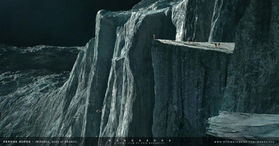 """10.dez.2014 - Nesta cena do curta """"Wanderers"""", as pessoas pulam do penhasco mais alto do Sistema Solar, localizado na Lua Miranda, de Urano"""