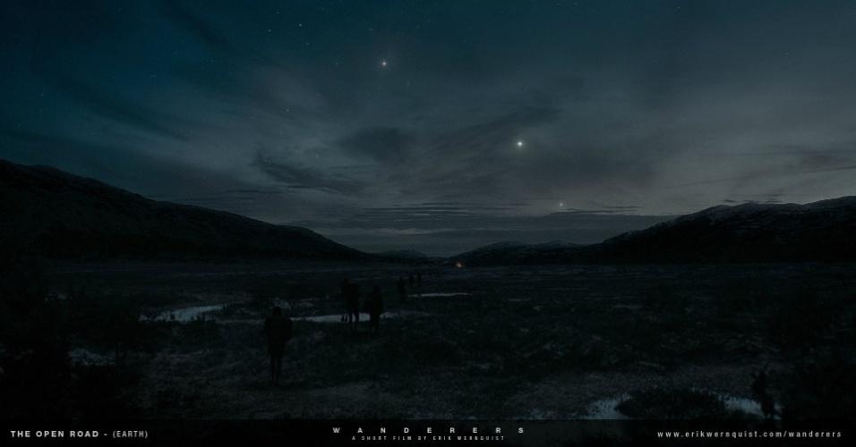 """10.dez.2014 - O artista visual e animador sueco Erik Wernquist criou um curta metragem chamado """"Wanderers"""", que traz imagens do Sistema Solar, inclusive de lugares nunca visitados pelo homem. Para criar as imagens, o artista se baseou em fotos e informações cedidas pela Nasa"""