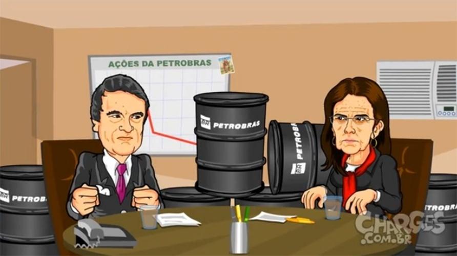 10.dez.2014 - O chargista Maurício Ricardo simula uma conversa entre o ministro da Justiça e a presidente da Petrobras sobre a crise na estatal