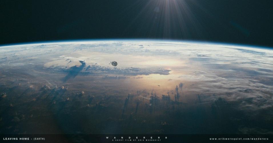 10.dez.2014 - O curta do animador sueco Erik Wernquist começa com a imagem de um momento no futuro, no qual uma grande nave espacial sai da Terra carregada de passageiros e parte para uma jornada no Sistema Solar