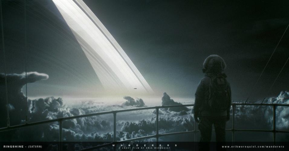 10.dez.2014 - Segundo Erik, esta é uma das vistas mais impressionantes do Sistema Solar. Nesta cena, o astronauta os anéis de Saturno