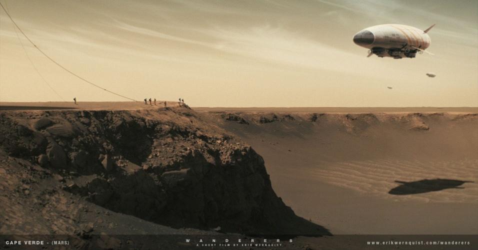 10.dez.2014 - Um grupo de pessoas aguarda a chegada de dirigíveis na borda da cratera Victoria, em Marte. Este é um dos muitos panoramas de alta resolução fotografados pelos sistemas de imagem das sondas Spirit e Opportunity, durante sua exploração de Marte desde 2003