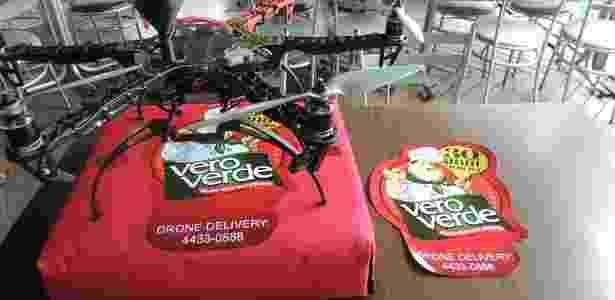 Drone testado pela pizzaria Vero Verde, do ABC Paulista, para entrega de pizza - Divulgação