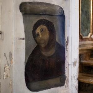 ''Ecce Homo'', retrato de Jesus Cristo, depois de ser restaurado por Cecilia Giménez, 83, em 2012
