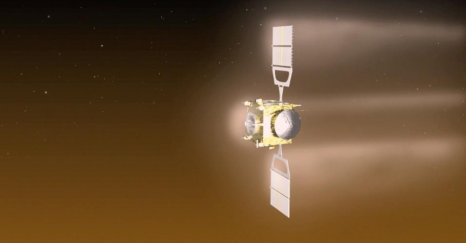 16.dez.2014 - A missa Vênus Express da ESA (Agência Espacial Europeia) terminou seus oito anos de trabalho depois de exceder o seu tempo de vida. A espaçonave esgotou seu propulsor durante uma série de queimas de propulsão para aumentar a sua órbita após uma aerofrenagem em baixa-altitude no início do ano. Ela foi a primeira missão espacial da ESA realizada com objetivo de estudar Vênus
