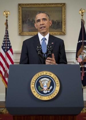 O presidente dos EUA, Barack Obama, anuncia uma mudança na política em relação a Cuba em discurso na Casa Branca - Doug Mills/Reuters