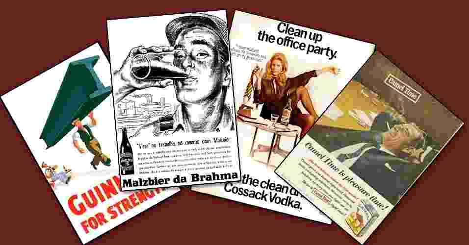 Propagandas que vinculam álcool e cigarro ao trabalho - Montagem
