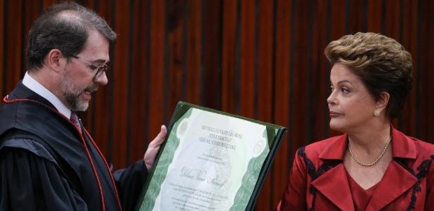 Dilma ao ser diplomada pelo TSE, em 2014