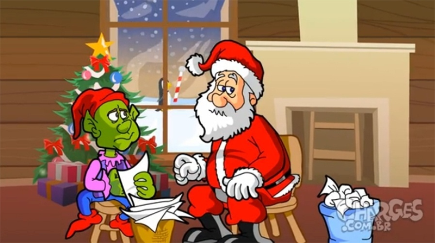 18.dez.2014 - Em charge do Maurício Ricardo, Papai Noel encara os pedidos difíceis desse ano